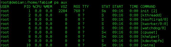 Mostrar processos em execução com ps aux no Linux