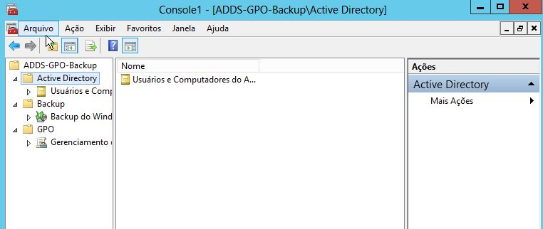Console MMC Windows Server 2012 Backup GPO