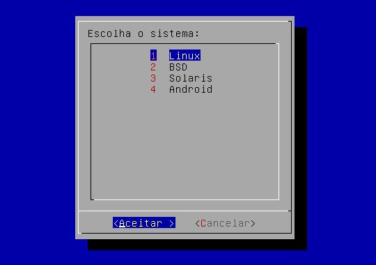 Widget menu em shell scripting