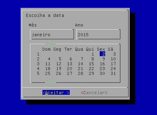 widget calendar em shell scripting no linux