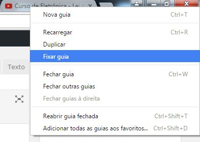 Fixar guia no Google Chrome
