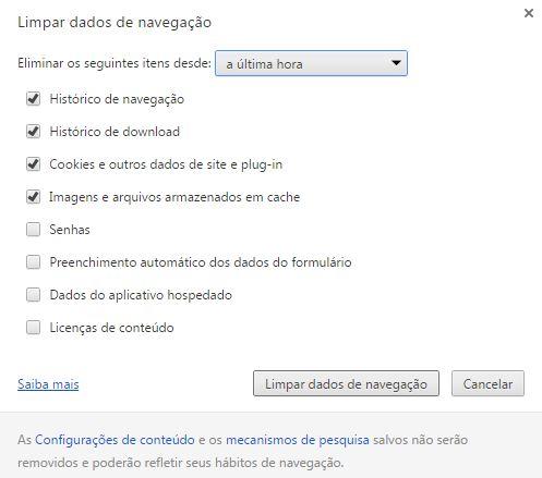Limpar Dados de Navegação no Google Chrome