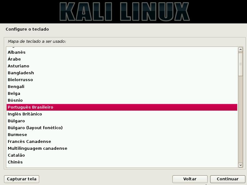 Kali Linux teclado