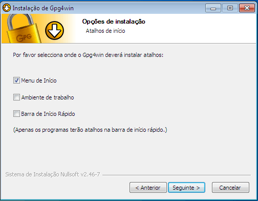 Gpg4Win - Criptografia - instalação