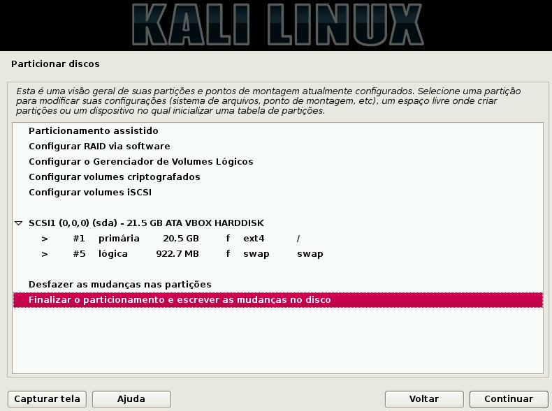 Kali Linux - finalizar particionamento