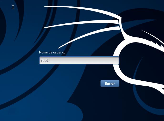 Kali Linux - login de usuário root