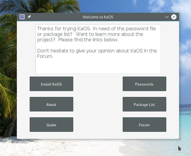 KaOS Linux - Escolher modo de instalação