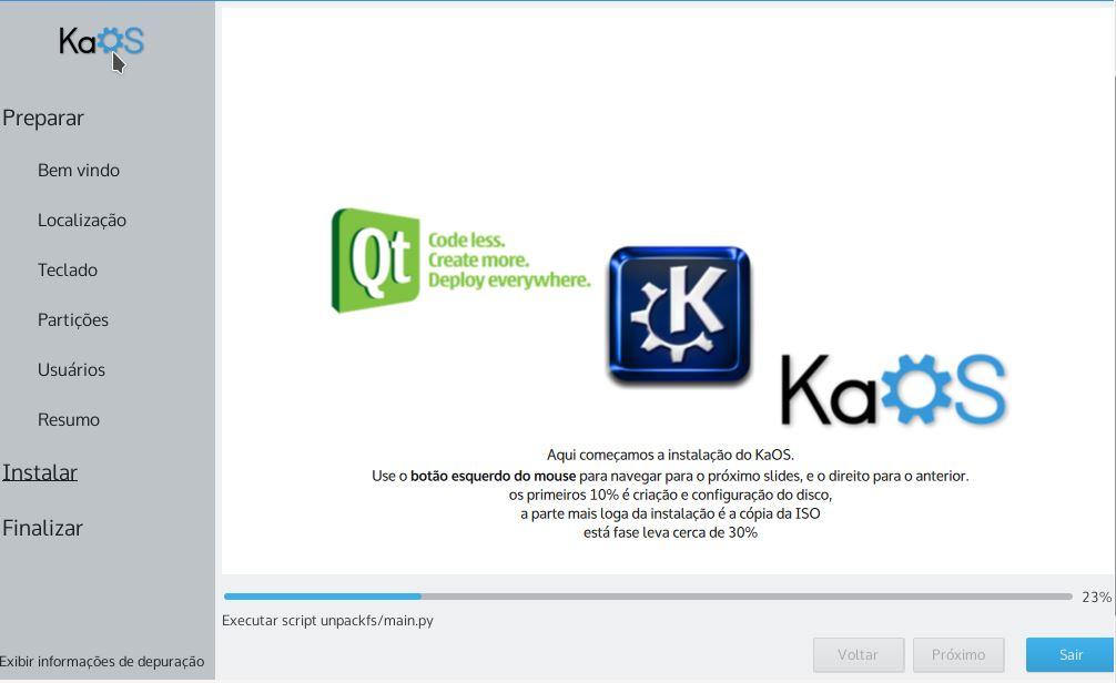 KaOS Linux - instalando o sistema