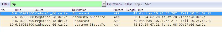 Captura de pacotes ARP com Wireshark