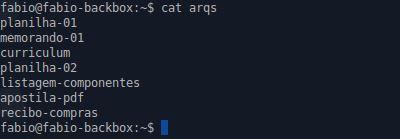 Comando cat e listagem de um arquivo no linux