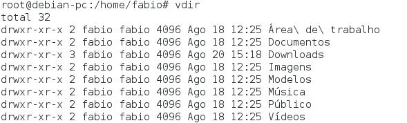 Comando vdir no Linux - Listando conteúdo de um diretório - LPI 1