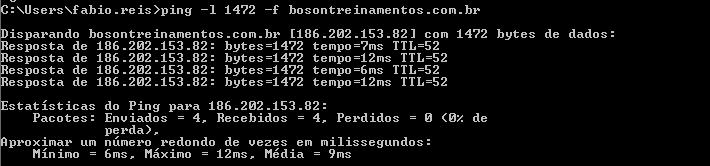 Payload mínimo transmitido em uma rede Windows MTU