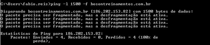 Ping na bóson com bit DF desativado e payload de 1500 bytes