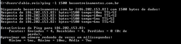 Ping na bóson com payload de 1500 bytes