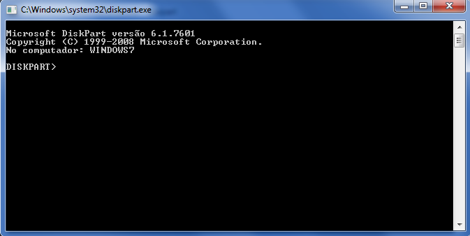 Prompt do Diskpart no Windows