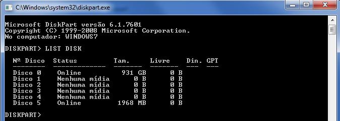 Utilitário DiskPart - comando List Disk
