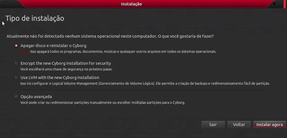 Cyborg Hawk Linux - Particionamento de discos