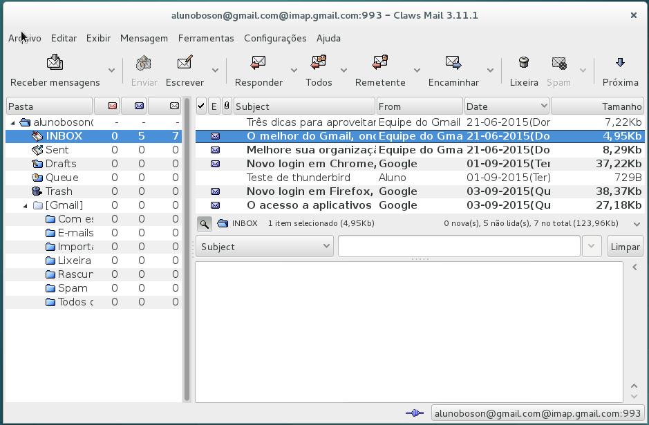 Claws Mail - Cliente Configurado no Debian