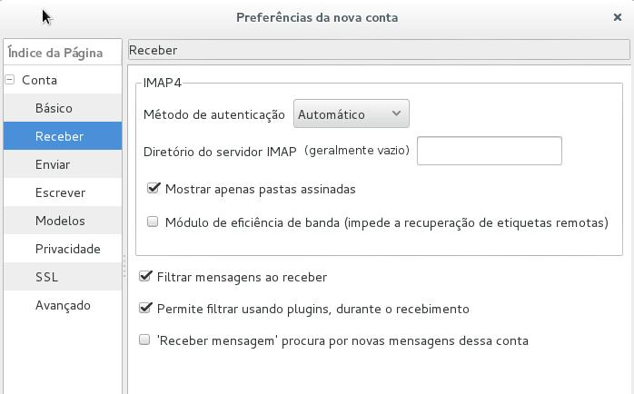 Claws Mail - Método de autenticação automático para IMAP4