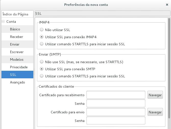 Configurando SSL no Claws Mail