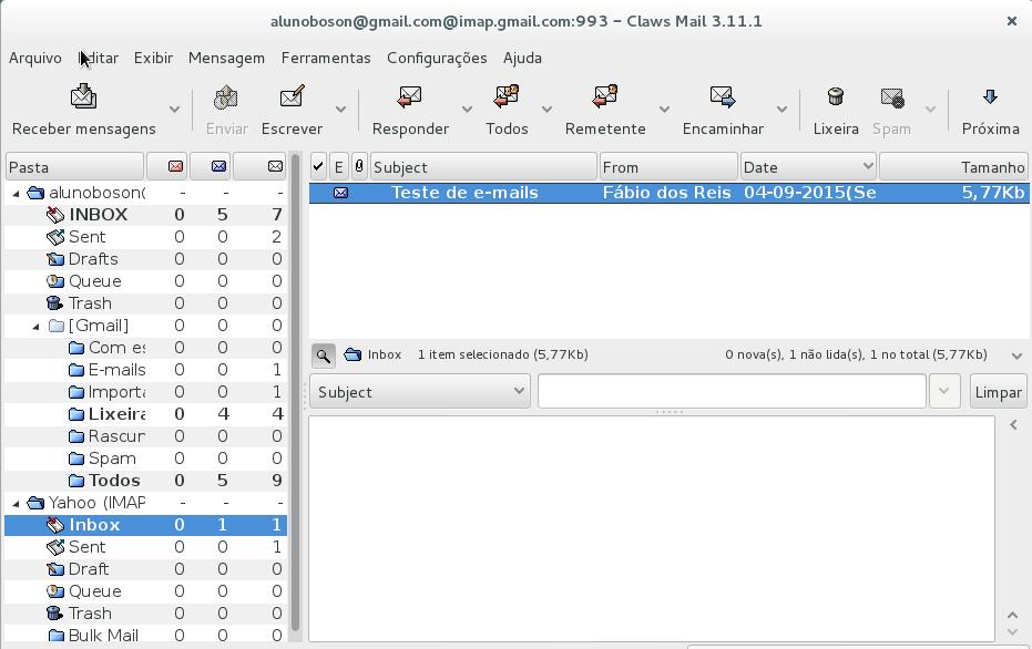 Claws Mail - Nova conta configurada do Yahoo!