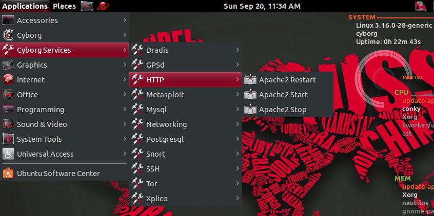 Serviços no Cyborg Hawk Linux - HTTP, SSH
