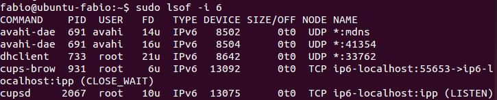 Comando lsof - Tráfego IPv6 no Linux