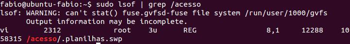 Comando lsof no Linux com grep