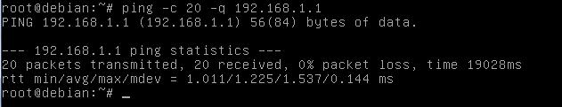 Ping silencioso no Linux Debian