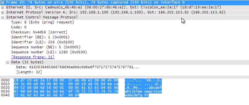 Capturando o conteúdo de uma mensagem ping ICMP com Wireshark