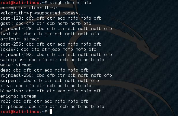 Steghide - Algoritmos de criptografia e modos suportados