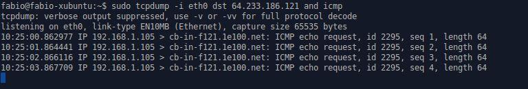 tcpdump com icmp no Linux