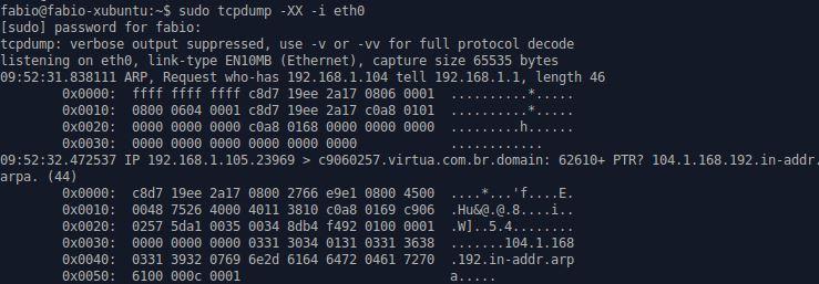 tcpdump com opção XX hexadecimal e ASCII