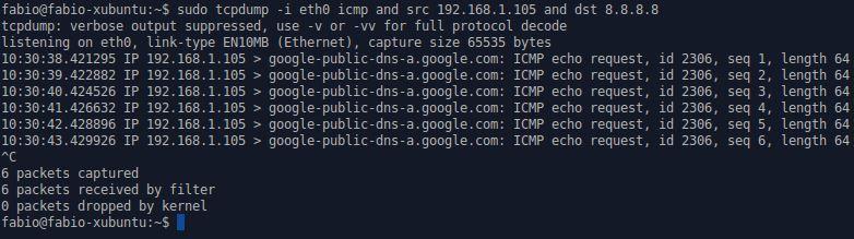 tcpdump com endereços de origem e destino, e protocolo ICMP