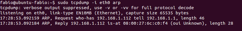 Tcpdump capturando pacotes ARP no Ubuntu Linux