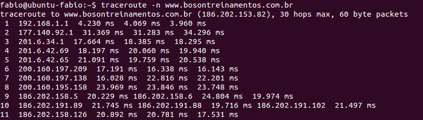 Tracert no ubuntu linux numérico