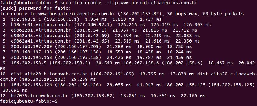 Tracert no Ubuntu Linux com segmentos TCP