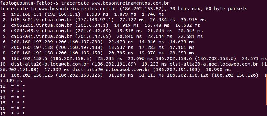 Utilitário traceroute no Linux Ubuntu