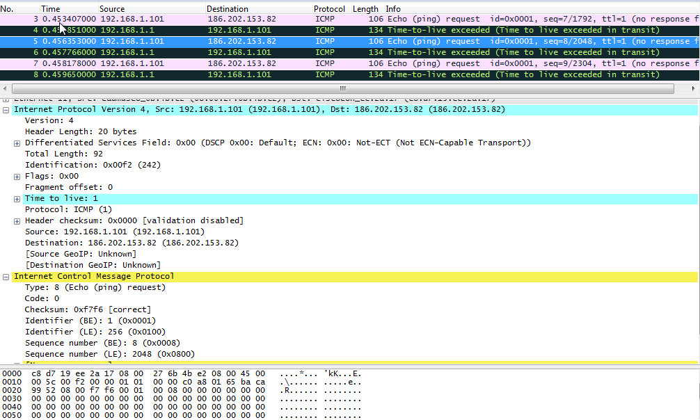 Tracert no Windows - Captura com Wireshark