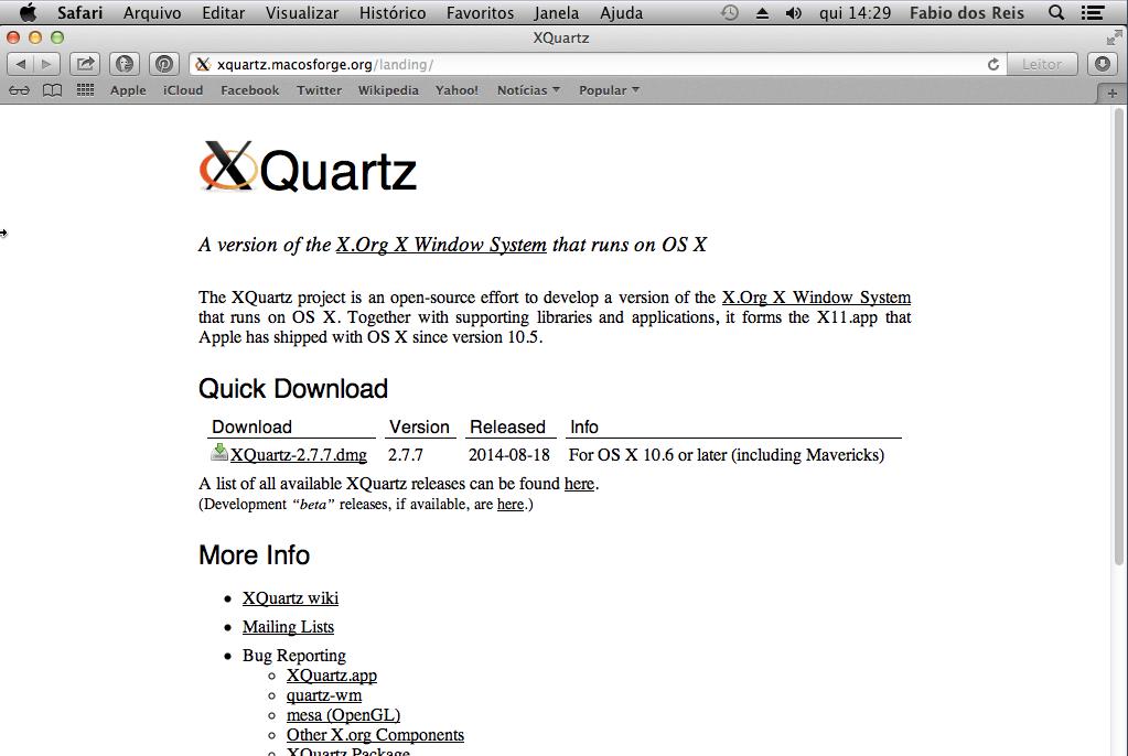Instalação do XQuartz
