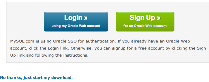 Link para download do MySQL para Mac OS X