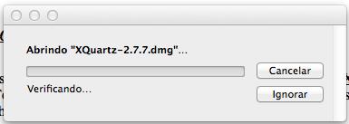 Abrindo pacote do XQuartz no Mac OS X