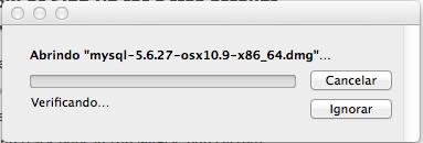 Abrindo o arquivo baixado do MySQL para Mac OS X Yosemite e Mavericks