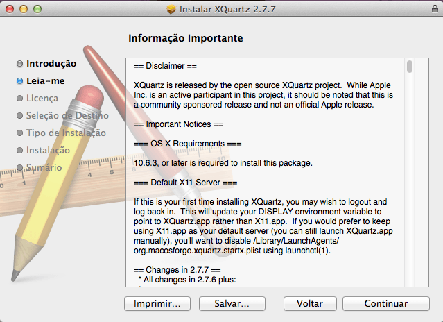 Instalador do XQuartz no Mac OS X Mavericks - Leiame