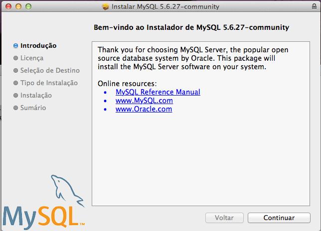 Instalar o MySQL para Mac OS X Yosemite e Mavericks