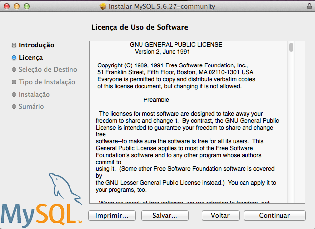 Instalar o MySQL para Mac OS X Yosemite e Mavericks - Licença