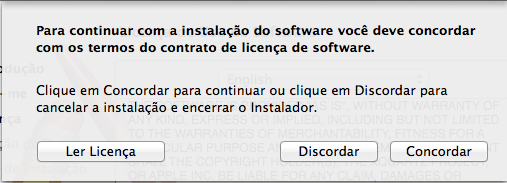 Instalar XQuartz no Mac OS X - Licença concordar