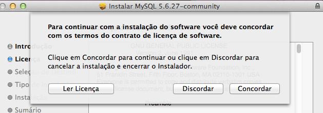 Instalar o MySQL para Mac OS X Yosemite e Mavericks - Concordar com a Licença