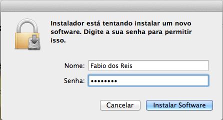Instalar XQuartz no Mac OS X - Tipo de Instalação - senha