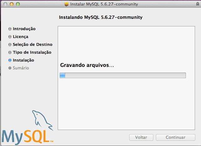 Instalar o MySQL para Mac OS X Yosemite e Mavericks - Instalando